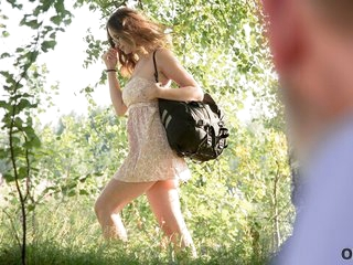 OLD4K. Beautiful redhead encircling glasses rides elderly dick in rub-down the woods