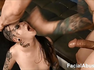 (new) Goth slattern Mallory Maneater throated increased by DP'd at Face Bonking
