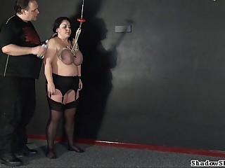 Tit hang of full-grown roped slavegirl Andrea up extreme big tit fomenting