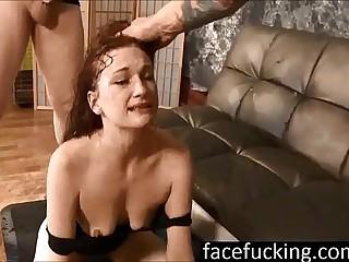 (new) Self-restraint Mae swallows cocks deep and pukes hard
