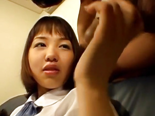 Riho sucks dong and is fucked with vibrator