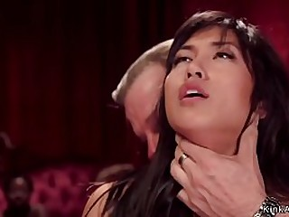 Teen slave Abella Episode and busty brunette Asian Mia Little are tormented and anal plugged and banged in the upper floor bdsm orgy party