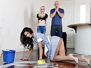 Superb maid Alexa Tomas fucks huge freshly married cock