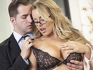 Horny blonde secretary Corinna Blake gets fuck and rides a bigcock