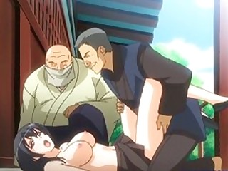 Prex Japanese hentai gangbanged in rub-down the into the open air