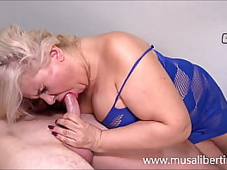 Busty MILF test young fat dick with 2 cumshots